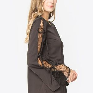 NWT Florence Satin Tie-Sleeve Blouse